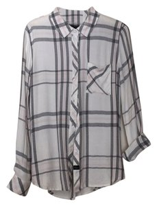 Rails Button Down Shirt White, black, pink