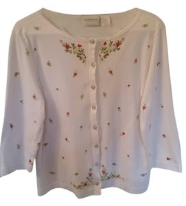 Liz Claiborne Button Down Shirt White/floral print