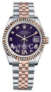 Rolex Rolex DateJust 31 Steel & Everose Gold Fluted Bezel Watch Purple Dial