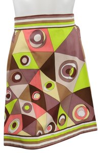 Emilio Pucci Vintage Mod Printed Abstract Skirt Brown