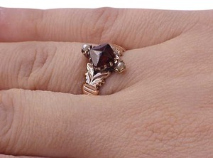 Other 12K Rose Gold Antique Victorian Oval Garnet & Pearl Ring, late 1800s