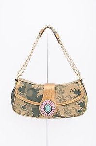Etro Green Beige Gold Satchel in Multi-Color