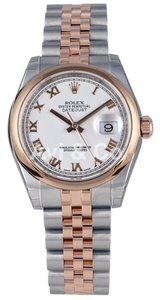 Rolex Rolex DateJust 31 Steel & Everose Gold Domed Bezel Watch White Dial