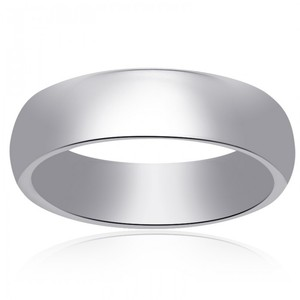 14k White Gold Comfort Fit Concave Mens Wedding Band