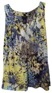 Ann Taylor Floral Impressionist Tank Top Blue, yellow, off-white, black