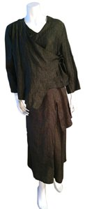 Bryn Walker Bryn Walker Taupe Linen Loose Draped Top and Long Skirt - Size Small