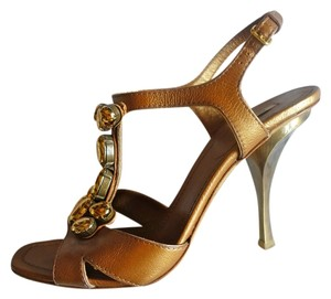 Miu Miu Prada Bronze Leather metallic Platforms