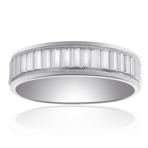 6mm 14k White Gold Comfort Fit Mens Band With A Textured Center