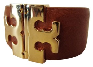 Tory Burch NWT TORY BURCH WIDE T HINGED BRACELET LUGGAGE TAN LEATHER