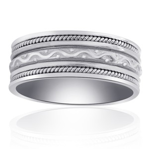 Avital & Co Jewelry 14k White Gold 8.35mm Comfort Fit Mens Band Ring