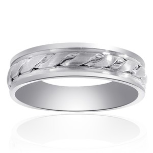 6.0mm 14k White Gold Comfort Fit Mens Band