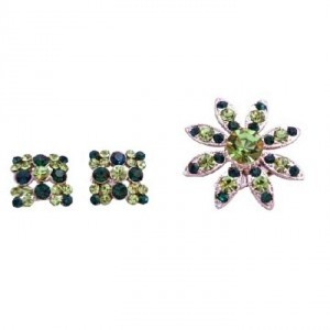 Silver Green Peridot Emerald Crystals Round with Matching Earrings Brooch/Pin