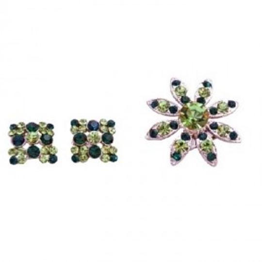 Preload https://img-static.tradesy.com/item/147221/silver-green-peridot-emerald-crystals-round-with-matching-earrings-broochpin-0-0-540-540.jpg