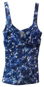 Ann Taylor Floral Knit Sleeveless Mesh Top Blue, black and white