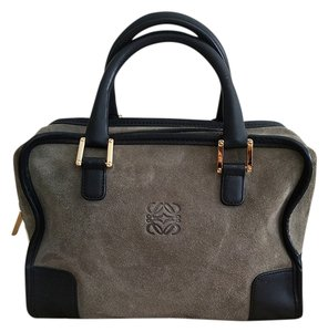 Loewe Suede Leather Gold Hardware Logo Satchel in black
