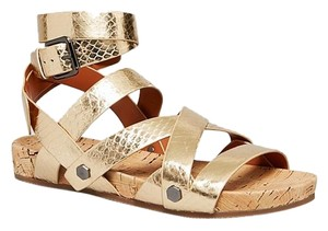 Rebecca Minkoff Gladiator Strappy Open Toe Snakeskin Gold Sandals