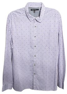 Kenneth Cole Reaction Checkered Dress Shirt Button Down Shirt Purple