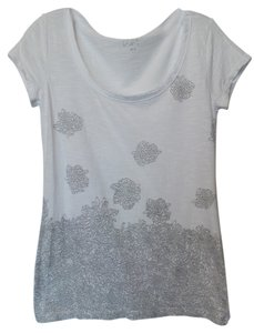 Ann Taylor Floral Asian New Knit Top White
