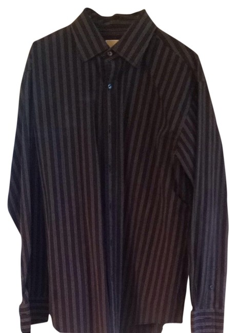 Michael Kors Button Down Shirt Black With White Stripes