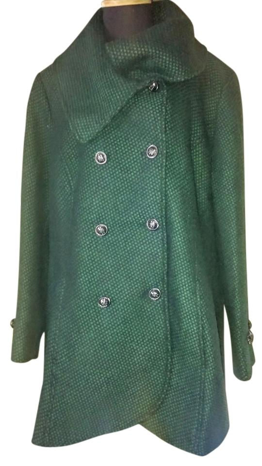 Jessica Simpson Emerald Green With Black Envelope Collar Double Breasted Coat Size 22 Plus 2x 58 Off Retail
