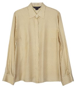Brooks Brothers 100% Silk Blouse Button Down Shirt white, gold and orange