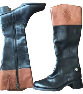 Etienne Aigner Brown Leather Riding Knee High Horse Black & Cognac Boots