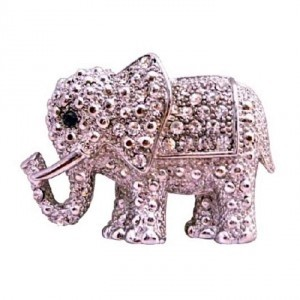Silver Elephant Fully Embedded W/ Cubic Zircon Casting Brooch/Pin