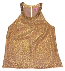 Lilly Pulitzer Top Metallic Gold