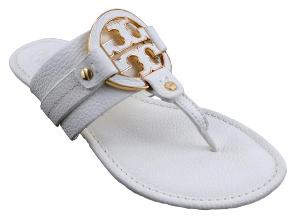 94a378a4711 Tory Burch Bleach (White) Amanda Flat Thong Tumbled Leather Sandals ...
