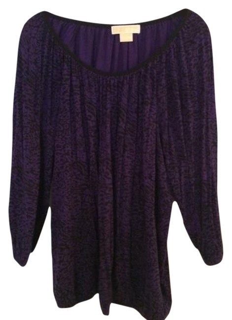 Item - Purple and Black Pullover with Elastic At Waist Long Sleeve Cotton Knit. Tunic Size 16 (XL, Plus 0x)