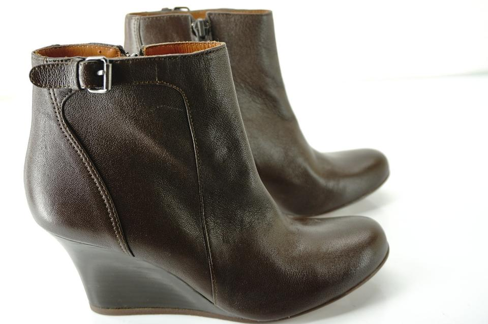 e3a821b51ab0 Lanvin Brown Leather Wedge Heel Short Buckle Top Ankle Boots Booties Size  EU 37 (Approx. US 7) Regular (M