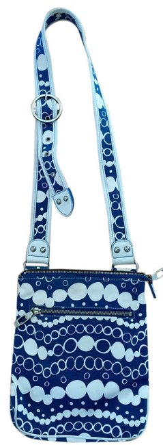 Item - Optic Blue and Off White Canvas Cross Body Bag
