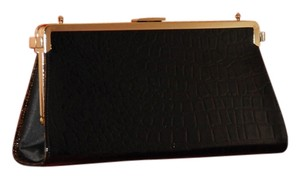 Tallula Tate Black Croco Brown Croco Black Textile Changeable Sides Chain Strap Clutch