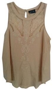ASTR Crochet Hi-neck Embroidered Floral Top Blush