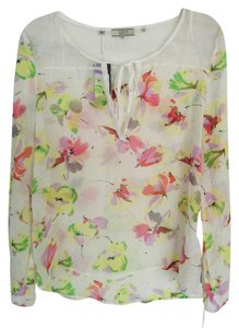 Guess Sheer Tie Boho Floral Flowy Top White