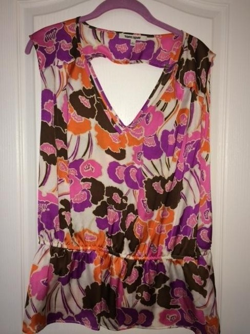 Item - Brown Pink Purple XL Pullover Poly with Keyhole In Back Blouse Size 16 (XL, Plus 0x)