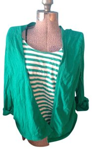 Basic Editions White Horizontal Stripes Cotton Large Top Green