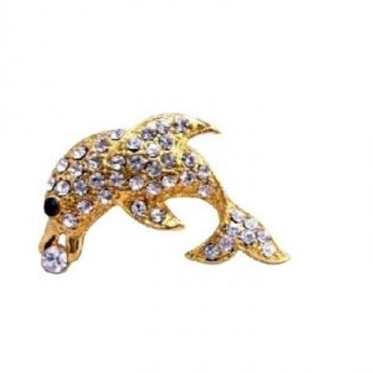 Gold Dolphin Vintage Artistically Decorated W/ Cubic Zircon Brooch/Pin