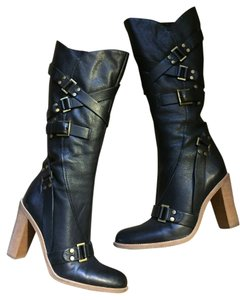 BCBGMAXAZRIA Timeless Leather Buckle Detail Pebbled Leather Black Leather Boots