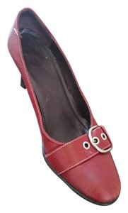 Coach Calfskin Silver Hardware Red Pumps