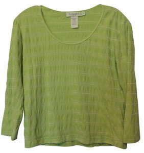 Fresh Produce Textured Striped Knit Excellent Top Spring Green