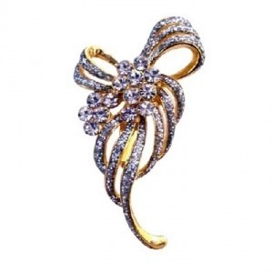 Gold Fully Encrusted W/ Cubic Zircon Dainty Brooch/Pin