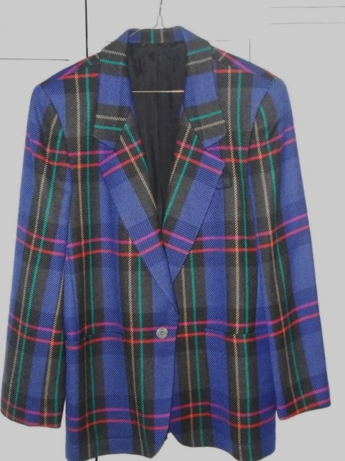 No Brand Name Tag Blue multi-colored plaid Blazer