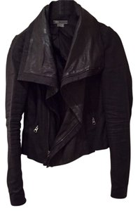 Vince Leather Denim Drape Spring Draped Leather Jacket