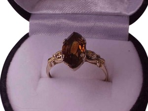 Antique Unique Victorian 14K Gold Citrine Ring, late 1800s