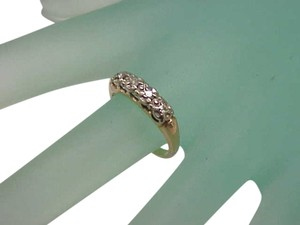 Other Antique Victorian 14K 2-Tone Gold 4 Old European Cut Diamonds VSH Wedding Ring Band, early 1900's