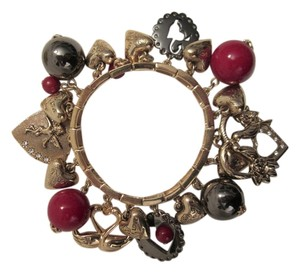 Betsey Johnson Chunky Angel Hearts Love Swans Charm Bracelet