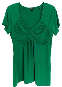 Daisy Fuentes Empire Waist Twist Knot Flowy Top Green