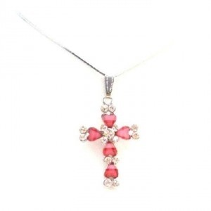 Pink Necklaces At Amazing Pricespink Cross Pendant Christmas Gift Jewelry Set