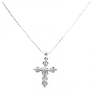 Silver Diamante Cross Pendant Sparkling Affordable Inexpensive Christmas Gift Jewelry Set